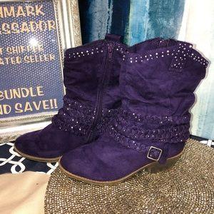 Size 6 Justice Purple Rhinestone Booties